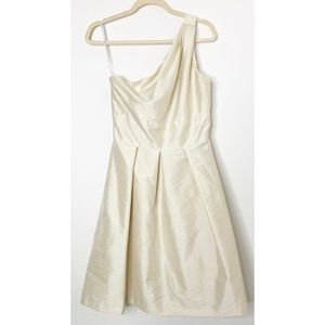 Alfred Sung Size 6 Champagne One Shoulder Dress